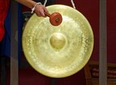 Gong in a Buddhist monastery, Kathmandu, Nepal