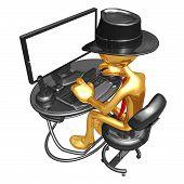 Постер, плакат: Бизнесмен работая на компьютере