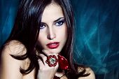 beautiful brunette woman with jewelry
