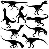 stock photo of dilophosaurus  - Set of editable vector silhouettes of Dilophosaurus dinosaurs in various poses - JPG