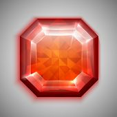 Asscher cut red diamond icon - eps10