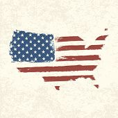 USA flag. Shape of american map. Vector, EPS10