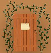 The Announcement On The Wooden Door