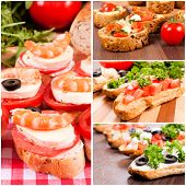 stock photo of oblong  - Bruschetta sandwiches with meatcheese and vegetables in collage - JPG