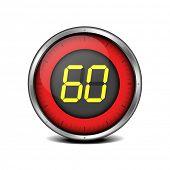 illustration of a metal framed timer with the number 60, eps10 vector