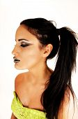 image of top-less  - A lovely young girl with long black hair in a closeup shoot and a 