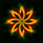 Brillante flor amarillo, arco iris de luces en círculos
