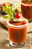 stock photo of bloody mary  - Spicy Bloody Mary Alcoholic Drink with a tomato garnish - JPG