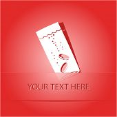 Glass with tablets. Paper sticker as bookmark. Vector illustration. Eps10.