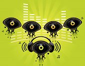 pic of oddities  - Eye character music group on a green background - JPG
