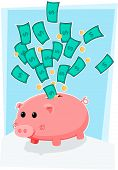 Piggybank lindo con dinero
