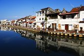 stock photo of malacca  - Malacca city with house near river under blue sky in Malaysia - JPG
