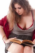 stock photo of school carnival  - One sexy school girl reading a book - JPG