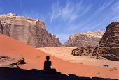stock photo of four-wheel drive  - Four wheel drive in Wadi Rum desert Jordan - JPG