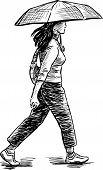 Girl Walking Under An Umbrella.eps
