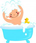 picture of bathtime  - A baby having bath in a bathtub - JPG