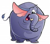 Cartoon Happy Purple Elephant