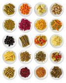 Marinated vegetables collection isolated on white background