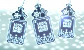 Three Christmas Labels With 100 Percent Free Delivery Sign