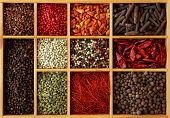 stock photo of peppercorns  - Assortment of peppercorns and chili in wooden box - JPG