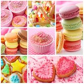 stock photo of biscuits  - Colorful cakes collage - JPG