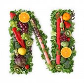 Fruit and vegetable alphabet - letter N