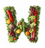 Fruit and vegetable alphabet - letter W