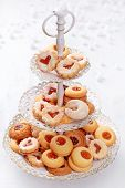 Christmas cakes on a cakestand