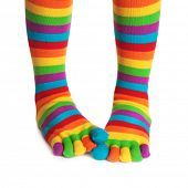 picture of stocking-foot  - Colorful striped socks isolated on white background - JPG