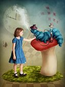 stock photo of alice wonderland  - Alice and the Caterpillar smoking his hookah - JPG