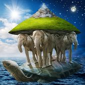 image of fantasy world  - World turtle carrying the elephants that carries the earth upon their backs - JPG