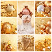 Collage of photos with golden christmas decoration