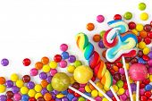 picture of bonbon  - Mixed colorful sweets close up - JPG