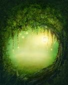 stock photo of tunnel  - Enchanted dark forest and lights - JPG