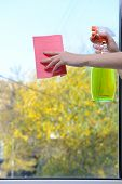 stock photo of trigger sprayer bottle  - Hands with spray cleaning the window - JPG