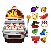 Slot fruit machine with cherry winning on cherries and Various slot fruit machine icons
