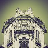 stock photo of turin  - Retro sepia Casa Fleur Fenoglio in Turin Italy  - JPG