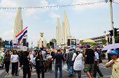 Bangkok - November 11 : The Democrats Are On The March At Democracy Monument