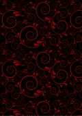 Red twisted lines with curves drops on a black background