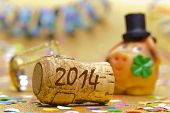 picture of talisman  - champagne cork and talisman at new year 2014 - JPG