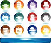 Iconos de la impresora redondo