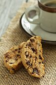 Pumpkin nuts and chocolate biscotti with coffee