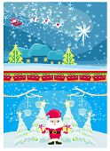 Set Of Christmas And New Year's Banners, Funny Santa Claus