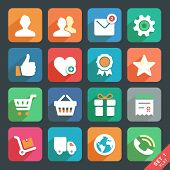 Universal Flat Icons Set For Web And Mobile App. Profile, Favorites, Shopping, Service