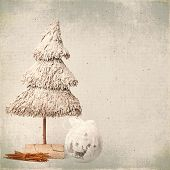 Christmas Tree And Baubles On Old Background