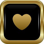 Black Gold Heart Icon.