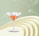 Retro cocktail glass - vintage poster art - party background