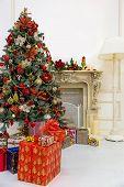Christmas Tree In Modern Interior Living Room