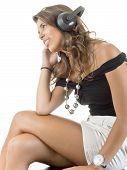 Beautiful girl to enjoy music