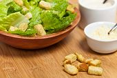 stock photo of caesar salad  - The Caesar salad prepared on the classical recipe - JPG